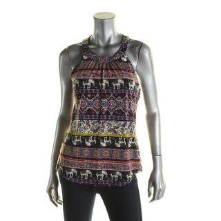 Belle du Jour Womens Juniors Tank Top Printed Crochet Trim