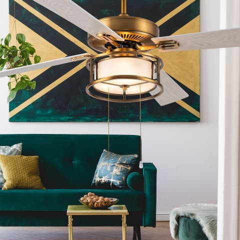 """Lena River of Goods Brass and Glass 52-Inch Ceiling Fan with Light - 52"""" x 52"""" x 12.5""""/17.5"""""""