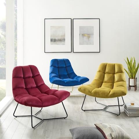 Corvus Ferrell Velvet Accent Lounge Chair