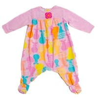 Baby Lulu Girls Pink Pears Long Sleeve Cotton One Piece Footie