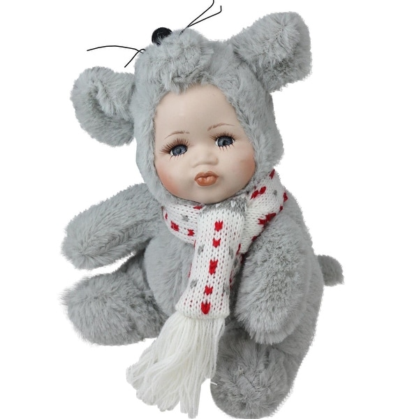 """6.75"""" Porcelain Pucker Up Baby in Mouse Costume Collectible Christmas Doll"""