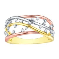 Prism Jewel 0.12Ct G-H/I1 Natural Diamond Unique Tri-Color Ring - White