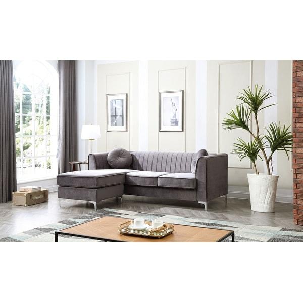 Delray Velvet Tufted Sofa with Reversible Chaise