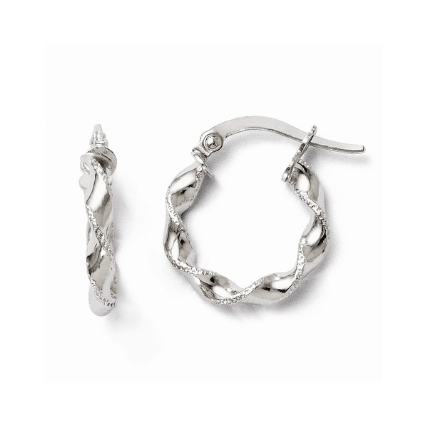 Italian 10k White Gold Polished & Textured Twisted Hinged Hoop Earrings