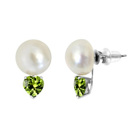 ColorStar Sterling Silver Button Pearl 6mm Heart Gemstone Stud Earring