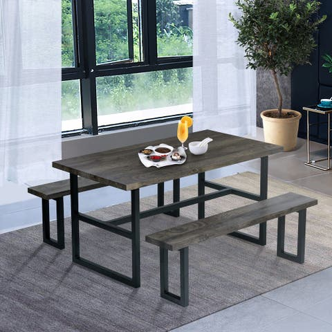 Furniture R Industrial Wood 3-Piece Dining Bench Set