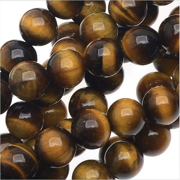 Tiger Eye Gemstone Beads Grade AA, 4mm Round, 15.5 Inch Strand, Brown