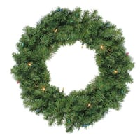 "24"" Pre-Lit Canadian Pine Artificial Christmas Wreath - Multi-Color Lights - green"