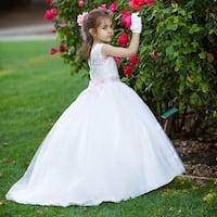 Girls White Pink Tulle Lace Crystals Sandra Ball Flower Girl Dress