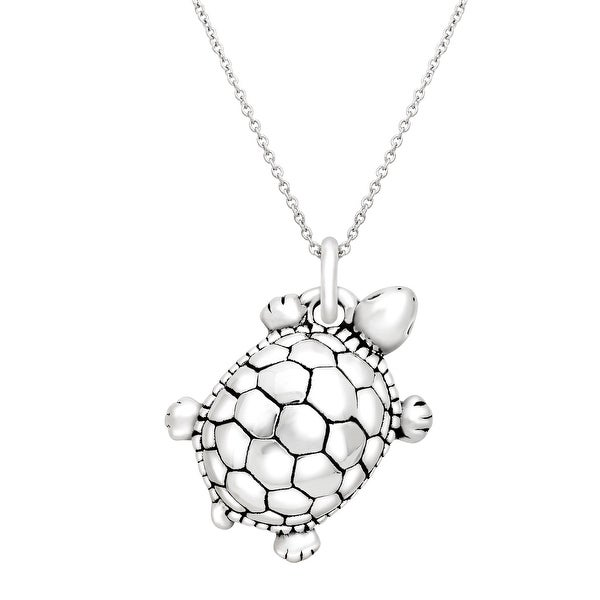 Turtle Pendant in Sterling Silver - White
