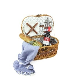 2-Person Hand Woven Honey Willow Picnic Basket Set with Accessories