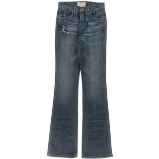 Taverniti Womens Janis Whisker Wash Distressed Bootcut Jeans - 24