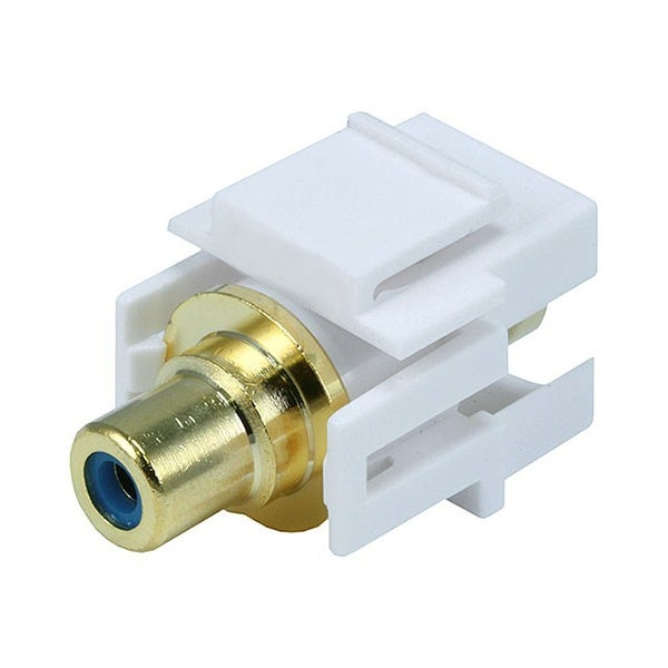 Monoprice Modular RCA Coupler Keystone Jack w/Blue Center, Flush Type - White