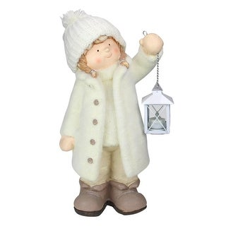 """17.25"""" Winter Girl in White Holding a Tealight Lantern Christmas Tabletop Figurine"""
