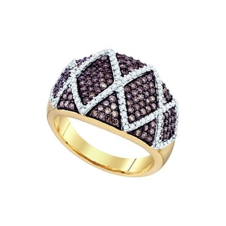 10k Yellow Gold Womens Cognac-brown Diamond Wide Striped Cocktail Fashion Band Ring 1.00 Cttw - Brown/White