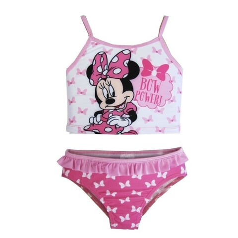 Disney Little Toddler Girls White Pink Minnie Mouse Two Piece Swimsuit 2-4T