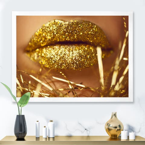 Designart 'Golden Woman Lips' Modern Framed Art Print