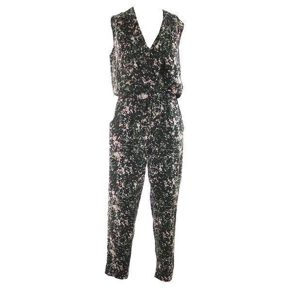 f85018db8ef8 Shop Marilyn Monroe Juniors Black Printed Surplice Camo Jumpsuit S ...