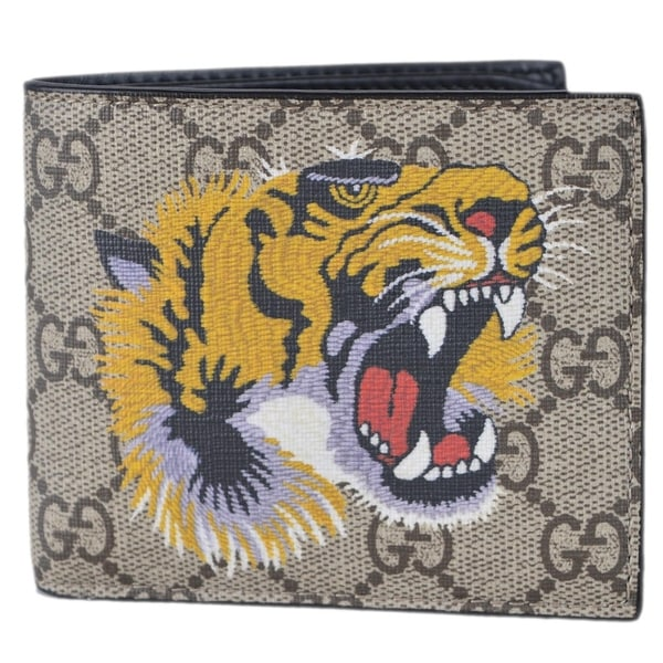 671b32f0f7c7 Gucci Men's Beige GG Supreme Canvas Angry Bengal Tiger Bifold Wallet -
