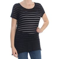 INC Womens Black Illusion Striped Short Sleeve Scoop Neck Top  Size: M