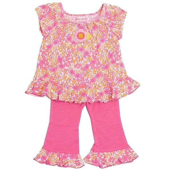 Baby Lulu Girls Pink Floral Print Ruffle Trim Cotton 2 Pcs Outfit Set