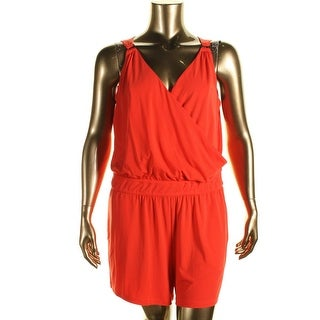 Spense Womens Plus Surplice Pull On Romper