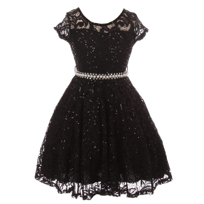 Girls Black Sequin Lace Pearl Belt Skater Junior Bridesmaid Dress