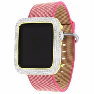 Apple Watch 38mm Stainless Steel Case Pink Nylon Woven Band 1st Generation Iced