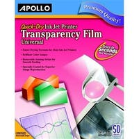 Apollo  Quick Dry Transparency Film For Ink Jet Printers, Pack 50