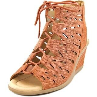 Earth Daylily Women Open Toe Leather Tan Wedge Sandal