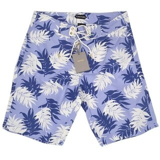 Tom Ford Mens Shorts Soft Blue Floral Print Swim Trunk - 32