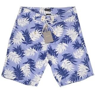 Tom Ford Mens Shorts Soft Blue Floral Print Swim Trunk - 32
