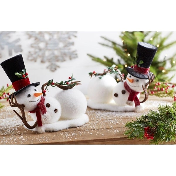 """Pack of 4 of an Assortment of 2 Snowmen Christmas Decorations 12.5"""" - black"""