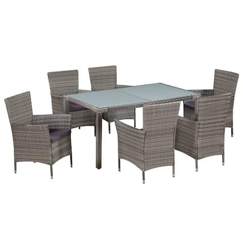 vidaXL Outdoor Dining Set 13 Pieces Poly Rattan Wicker Patio Garden Furniture