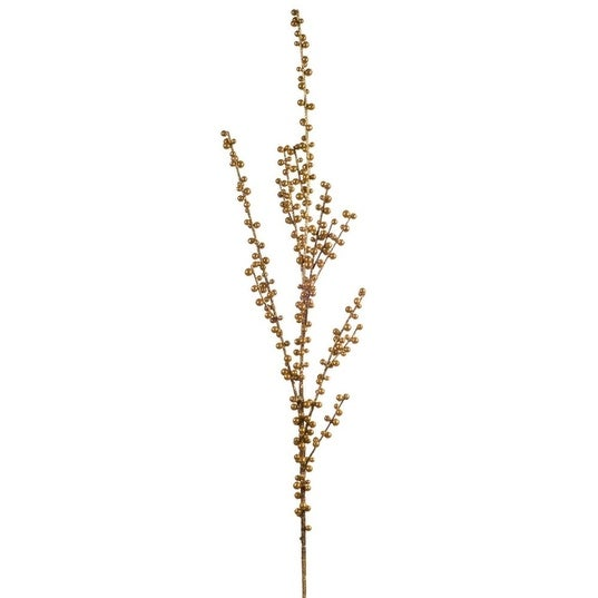 """Pack of 6 Brown Ilex and Elegant Gold Colored Berries Christmas Sprays 24"""""""