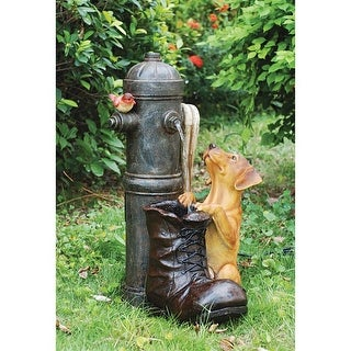 Fire Hydrant Pooch Sculptural Fountain DESIGN TOSCANO fire hydrant dog shoe
