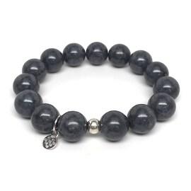 Grey Jade 'Classic Stone' stretch bracelet Sterling Silver