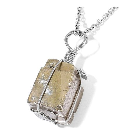 925 Stainless Steel Pyrite Pendant Necklace in Silvertone 24 inch