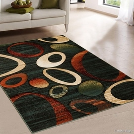 "AllStar Rugs Blue Mix Rust Carved Circles Modern Geometric Area Rug (7' 9"" x 10' 5"")"