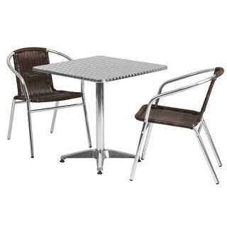 Skovde 3pcs Square 27.5'' Aluminum Table w/2 Dark Brown Rattan Chairs
