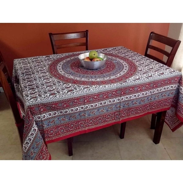 Handmade 100% Cotton Paisley Mandala Tapestry Tablecloth Spread 64x90 & 85x90 inches Twin Full