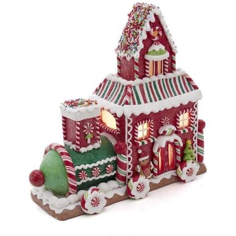 Kurt Adler 10.5-Inch Gingerbread Train House with LED Lights