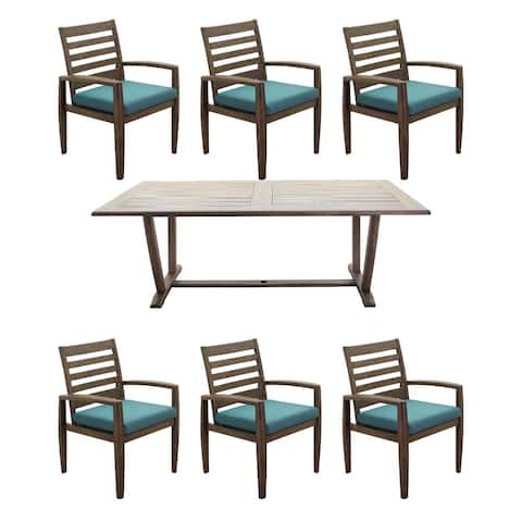 """Courtyard Casual Avalon FSC Teak 84"""" Rectangular Dining Table and 6 Arm Dining Chairs 7 Piece Dining Set"""