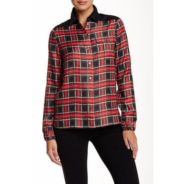ac43a52718768f Shop L.A.M.B. NEW Red Womens Size 2 Plaid-Print Button Down Shirt Silk -  Free Shipping Today - - 18510299