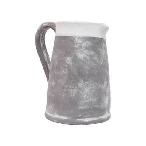 """7"""" White and Rim Gray Tall Pitcher in Clay Finished"""