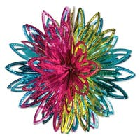 "Club Pack of 12 Decorative Vibrant Colored Metallic Starburst Hanging Balls 12"" - Blue"