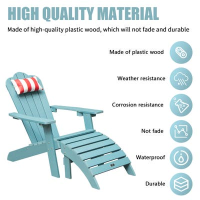 Sally Blue Plastic Adirondack Chair With Ottoman And Head Pillow