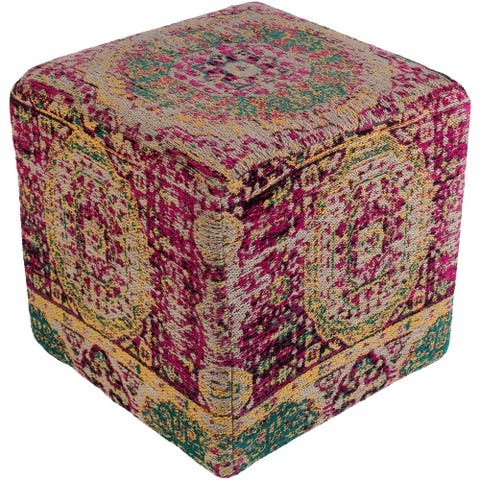 """Fremont Traditional Oriental Bright Pink 18"""" Pouf"""