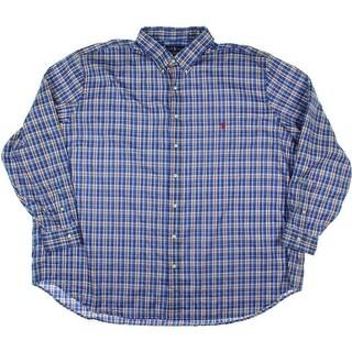 Ralph Lauren Mens Big & Tall Cotton Plaid Button-Down Shirt