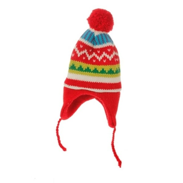 "8.75"" Merry & Bright Nordic Red Knit Ear Flap Winter Hat Christmas Ornament"